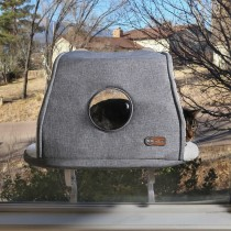 K&H Pet Products Universal Mounted Kitty Sill with Hood Gray 14'' x 24'' x 7''
